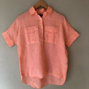 J. Crew Shirt Sleeve Popover Linen Peach Orange 00